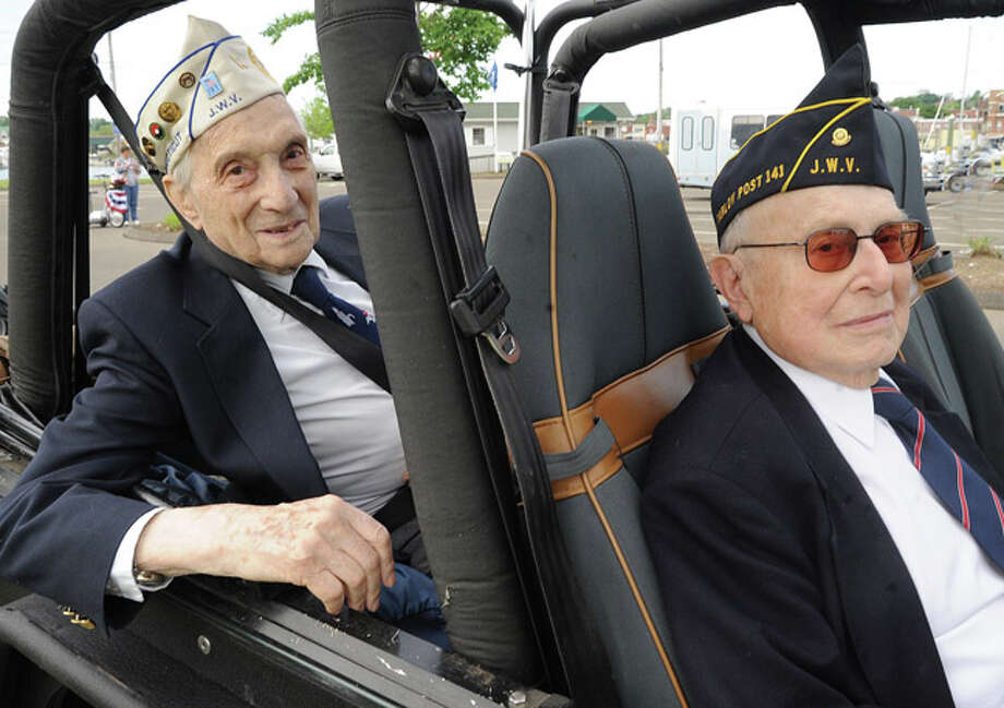 George Cooper World War II veteran and Harry Morgenthaler Korean War veteran at the Memorial Day Parade in Norwalk on Monday. Hour photo/Matthew Vinci