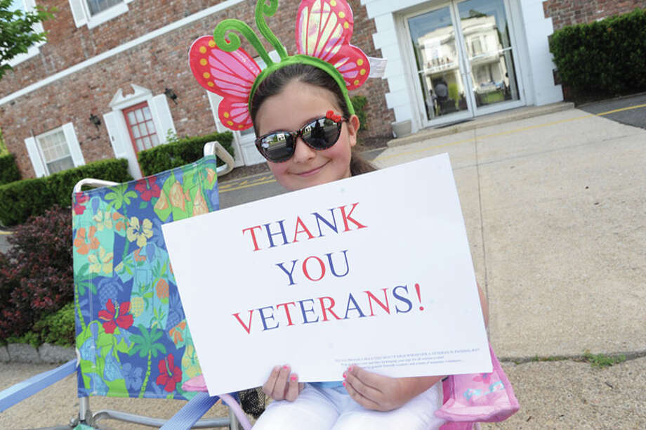 Kaylee Romeo, 7 at the Memorial Day Parade in Norwalk on Monday. Hour photo/Matthew Vinci