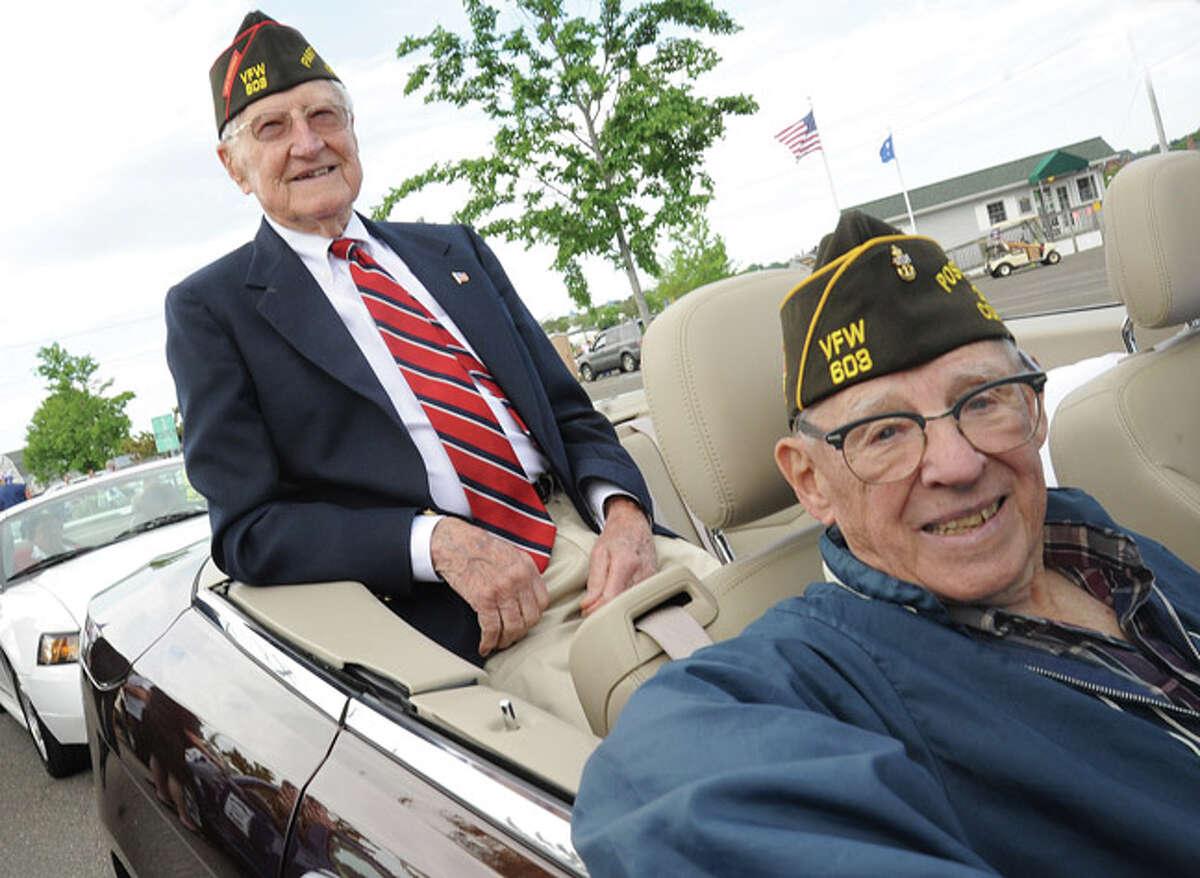 Hugh Sebatian and Edward Zamm World War II veteans at the Memorial Day Parade in Norwalk on Monday. Hour photo/Matthew Vinci