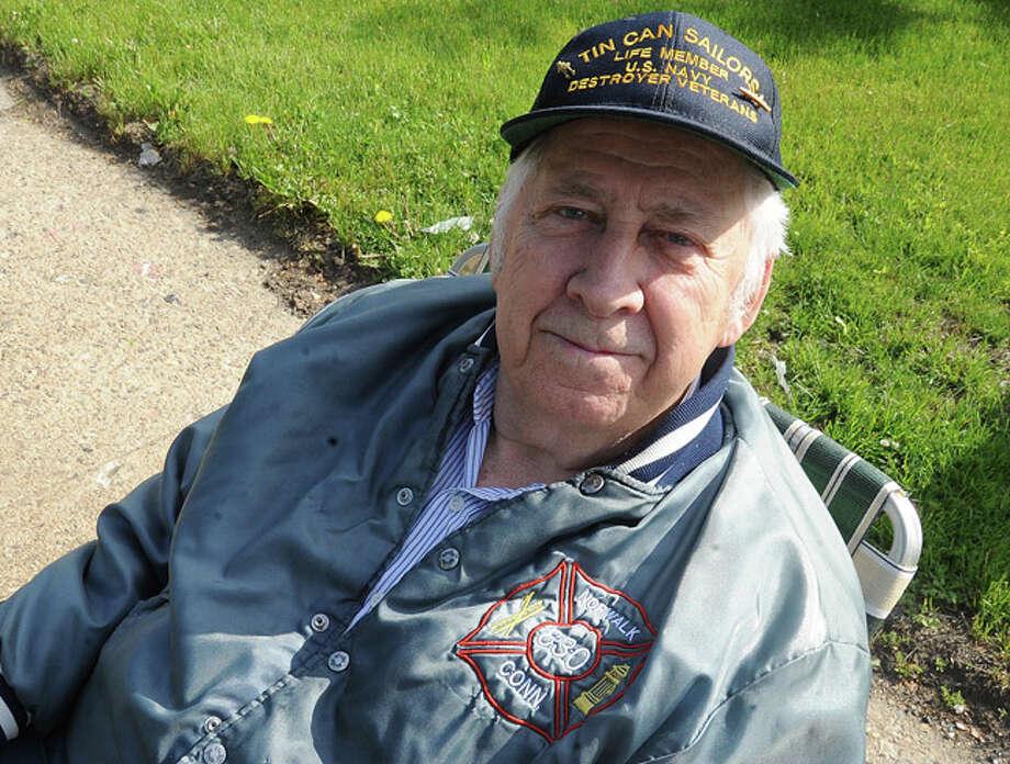 Paul F. Harris World War II and Korean War veteran at the Memorial Day Parade in Norwalk on Monday. Hour photo/Matthew Vinci