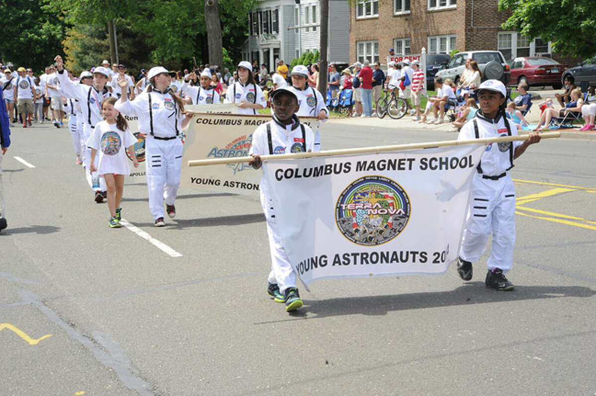 Columbus School Young Astronauts at the Norwalk Memorial Day Parade. Hour photo/Matthew Vinci