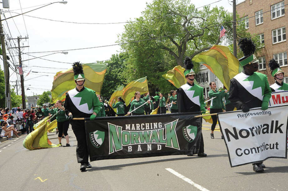 The Norwalk High School marching band at the Norwalk Memorial Day Parade. Hour photo/Matthew Vinci