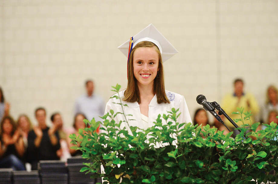 Hour photo / Erik Trautmann Wilton High School valedictorian Grace Nickel gives her address during the Class of 2015 commencement ceremonies Saturday.