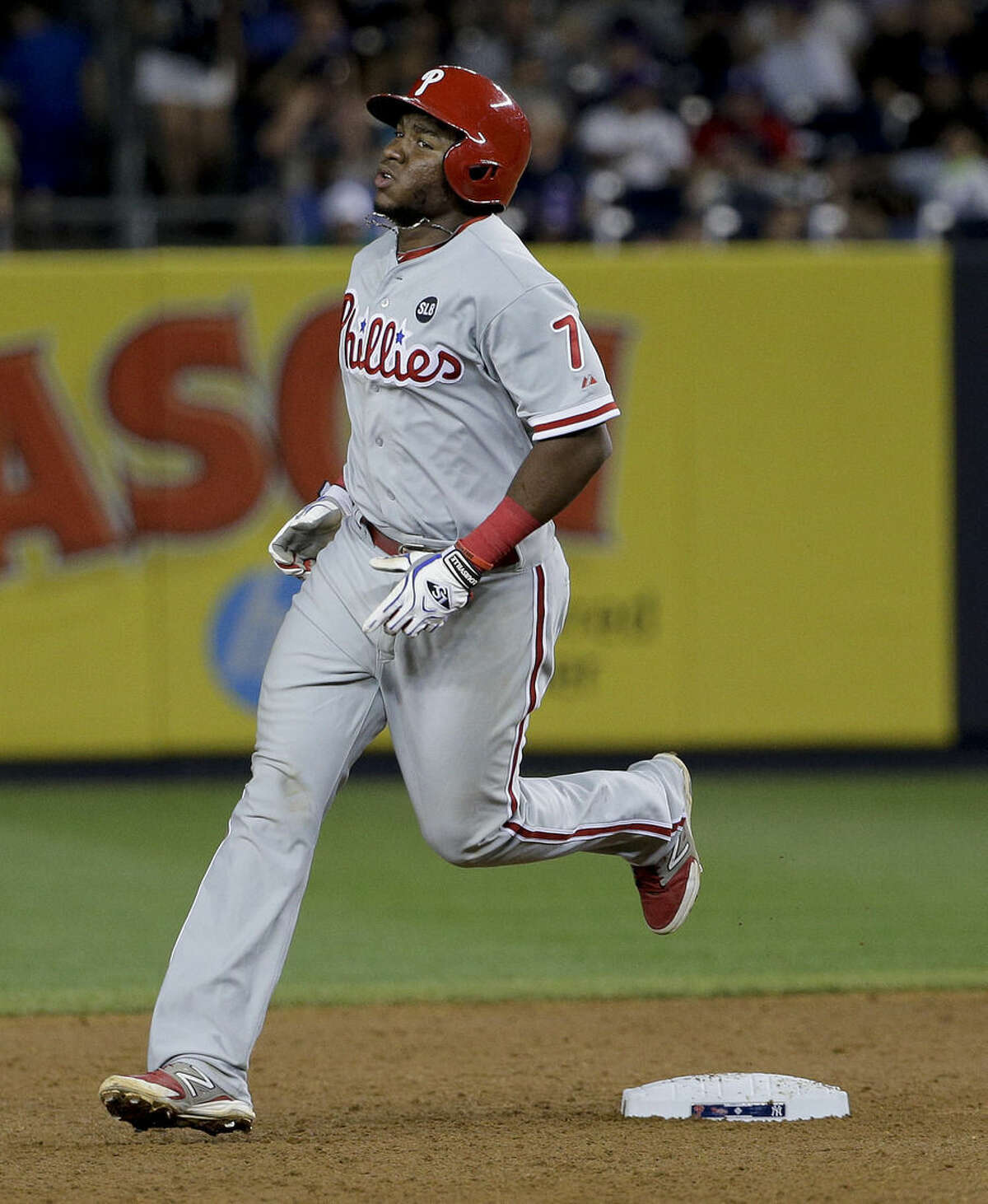 Philadelphia Phillies Maikel Franco (7) rounds second base after hitting a solo home run against the New York Yankees during the sixth inning of a baseball game, Monday, June 22, 2015, in New York. (AP Photo/Julie Jacobson)
