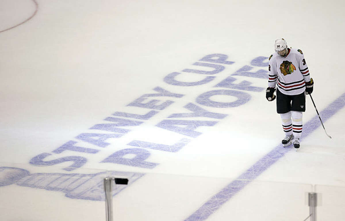 Chicago Blackhawks' Michal Rozsival, of Czech Republic, skates on the ice during the third period of Game 4 of the Western Conference finals of the NHL hockey Stanley Cup playoffs against the Los Angeles Kings on Monday, May 26, 2014, in Los Angeles. The Kings won 5-2. (AP Photo/Jae C. Hong)