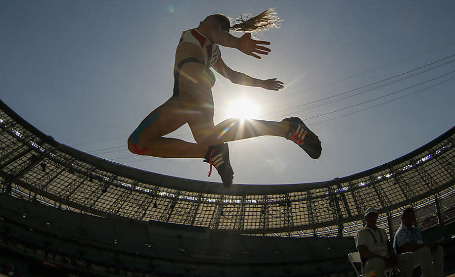 Sarah Lagger of Austria competes during the women's long jump event at the 2015 European Games in Baku, Azerbaijan, Monday, June 22, 2015. (AP Photo/Dmitry Lovetsky)