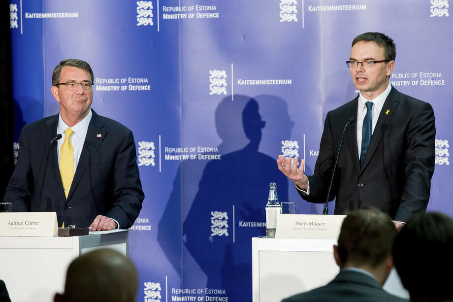 AP PhotoThe US Secretary of Defense Ashton Carter, left, and Estonian Defense Minister Sven Mikser attend a joint press conference after a meeting in Tallinn, Estonia, Tuesday.