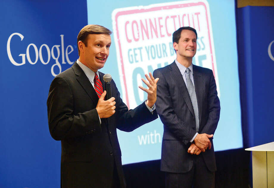 Hour photo / Erik Trautmann U.S. Senator Chris Murphy (D-Conn.) and U.S. Congressman Jim Himes (D-Conn.) join Google for a Connecticut Get Your Business Online event at Dolce Norwalk Tuesday. During the Connecticut Get Your Business Online event, Google experts teach business owners how to reach more customers online.