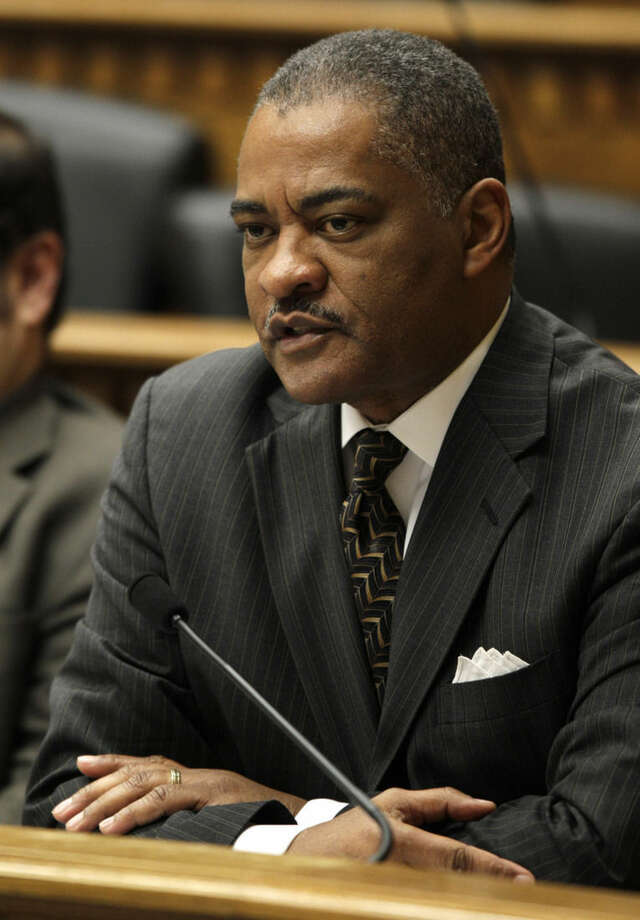 FILE - In this Jan. 5, 2012 file photo, Elson Floyd, president of Washington State University talks to reporters at the Capitol in Olympia, Wash. Floyd died Saturday, June 20, 2015, at Pullman Regional Hospital, said a school spokeswoman, Kathy Barnard. (AP Photo/Ted S. Warren, File)