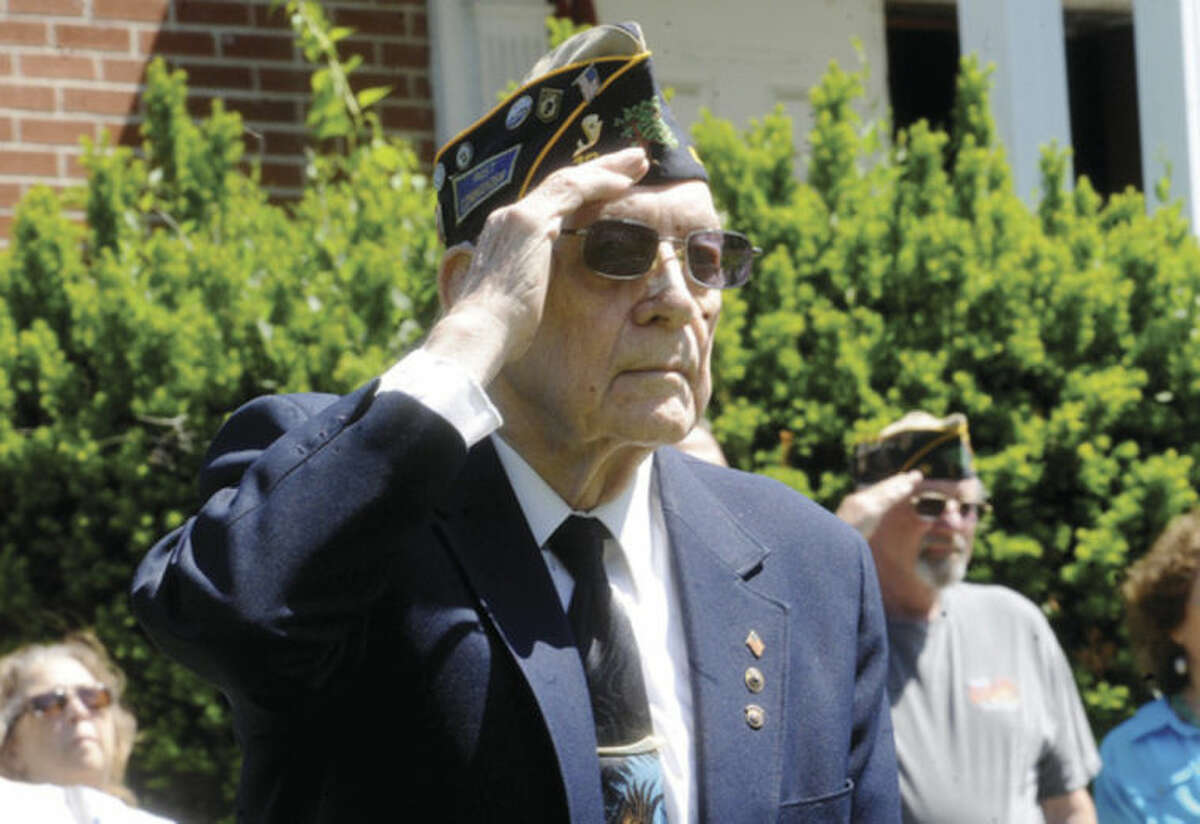 Royal Benedict, Army veteran and longtime member of Post 12 Sunday as the American Legion honors his son, Norwalk native and Vietnam-era Navy Veteran Tom Benedict. He served from 1970 to 1974, and attained the rank of Petty Officer 2nd Class. Hour photo/Matthew Vinci