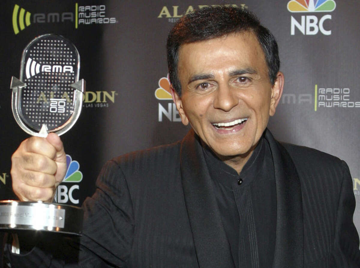 FILE - In this Oct. 27, 2003, file photo, Casey Kasem poses for photographers after receiving the Radio Icon award during The 2003 Radio Music Awards in Las Vegas.
