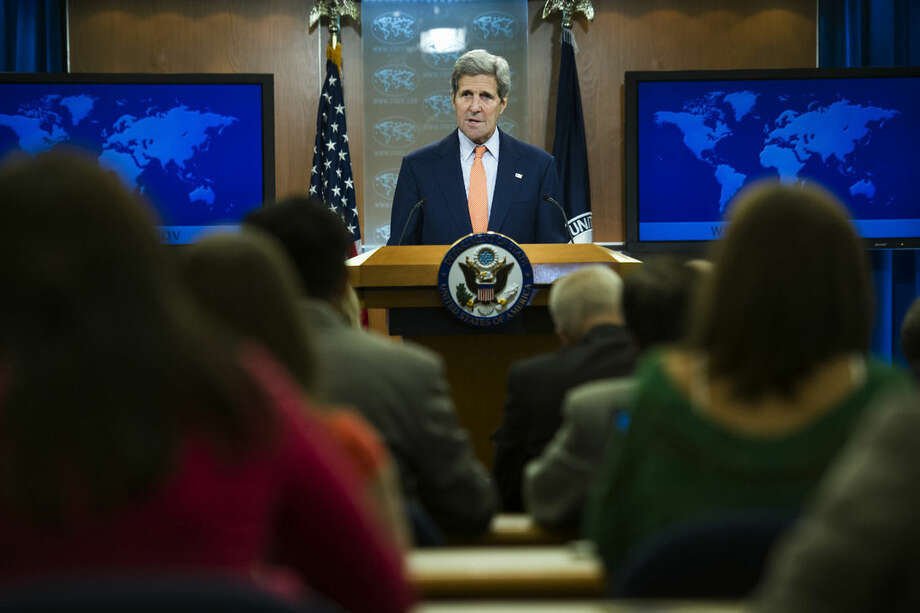 Secretary of State John Kerry speaks to the media after the State Department released it's annual human rights reports, Thursday, June 25, 2015, June 25, 2015, at the State Department in Washington. The Obama administration has once again identified Iran and Cuba as serial human rights abusers even as it accelerates attempts to improve relations with both countries. (AP Photo/Cliff Owen)