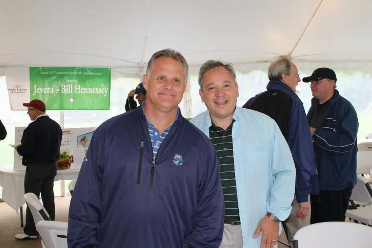 Churck Threshie and Brian Bello, ready to play in the Senior Services of Stamford's Annual Charity Golf Outing.