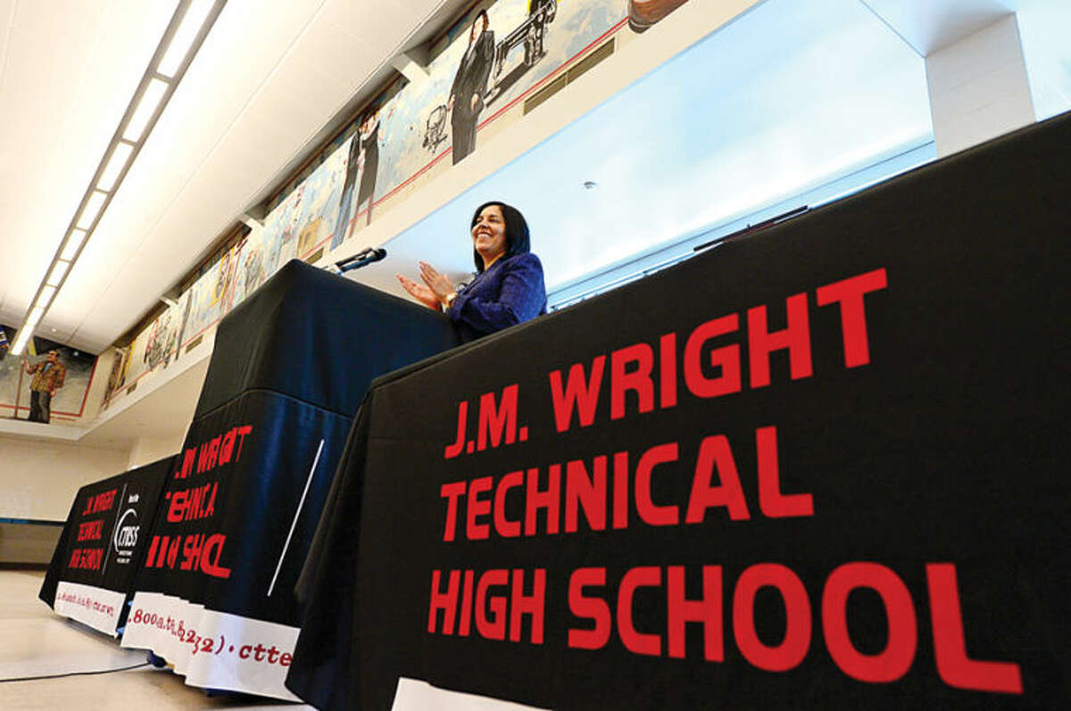 Hour photo / Erik Trautmann Connecticut Technical High School System Superintendent Nivea Torres speaks during a media briefing on the reopening of Wright Tech this fall.