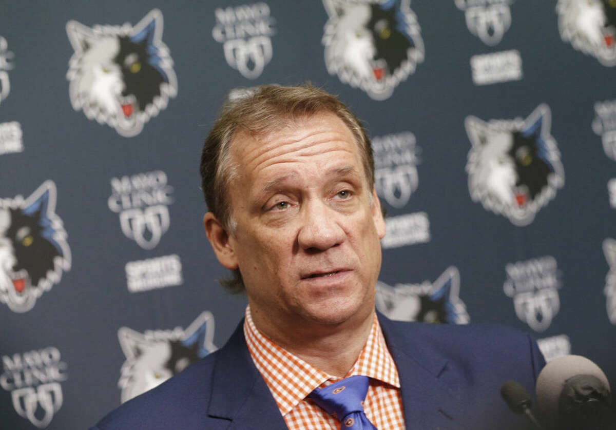 Minnesota Timberwolves coach Flip Saunders addresses the media during an NBA basketball news conference, Wednesday, June 24, 2015 in Minneapolis. The Timberwolves have the No. 1, 31st and 36th picks in the NBA draft. (AP Photo/Jim Mone)