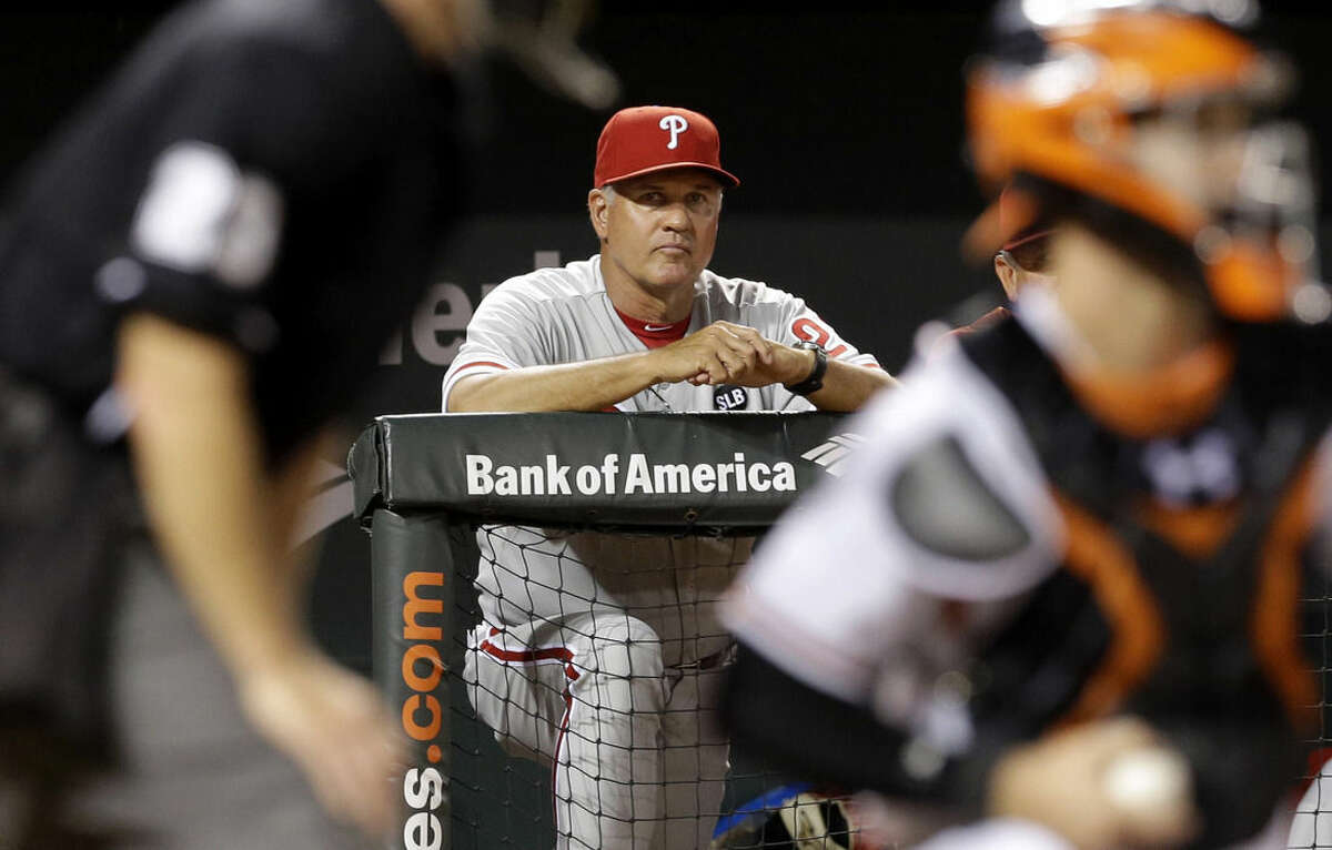 FILE - In this June 16, 2015, file photo, Philadelphia Phillies manager Ryne Sandberg watches from the dugout during an interleague baseball game against the Baltimore Orioles in Baltimore. Sandberg resigned as manager of the baseball club on Friday, June 26, 2015. (AP Photo/Patrick Semansky, File)