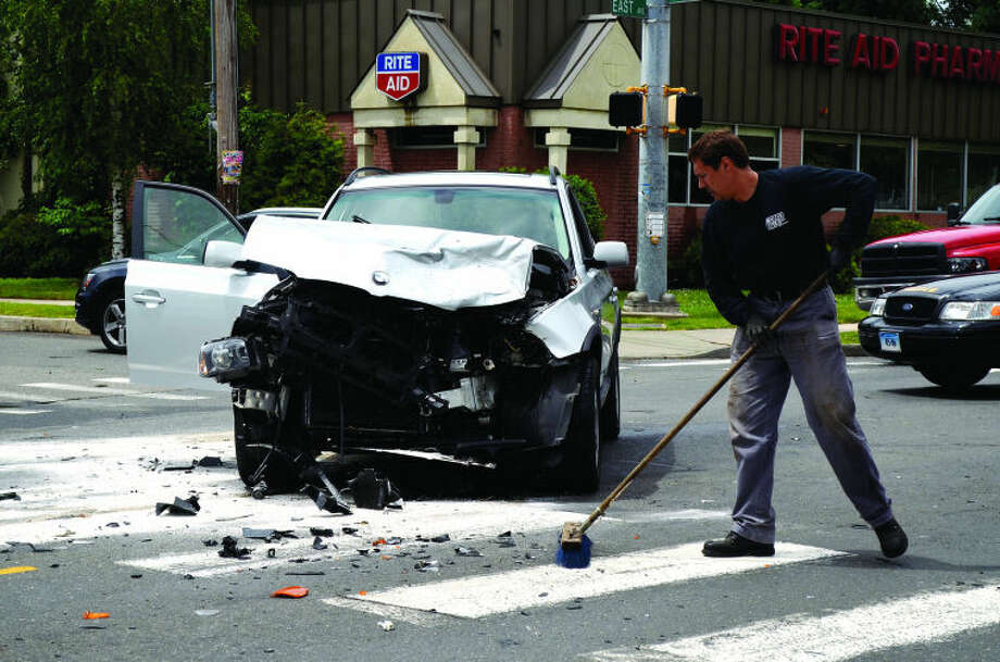 BMW involved in a two car accident on East Avenue Thursday.
