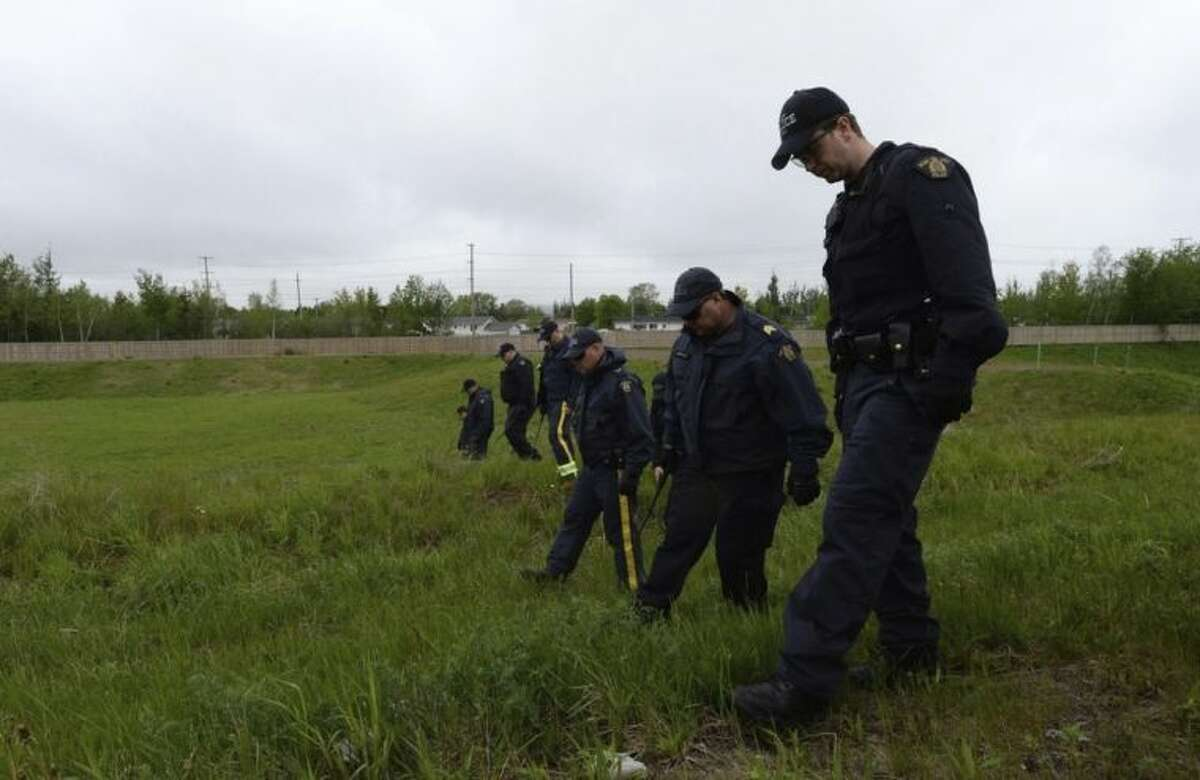 RCMP officers scour a field in Moncton, N.B. on Saturday, June 7, 2014 not far from where officers arrested a man charged with killing three of their colleagues. A few dozen Mounties are searching for clues behind the residential area where suspected gunman Justin Bourque was apprehended Friday. Bourque is facing three charges of first-degree murder and two counts of attempted murder in the shootings of five RCMP officers. (AP Photo/The Canadian Press, Sean Kilpatrick)