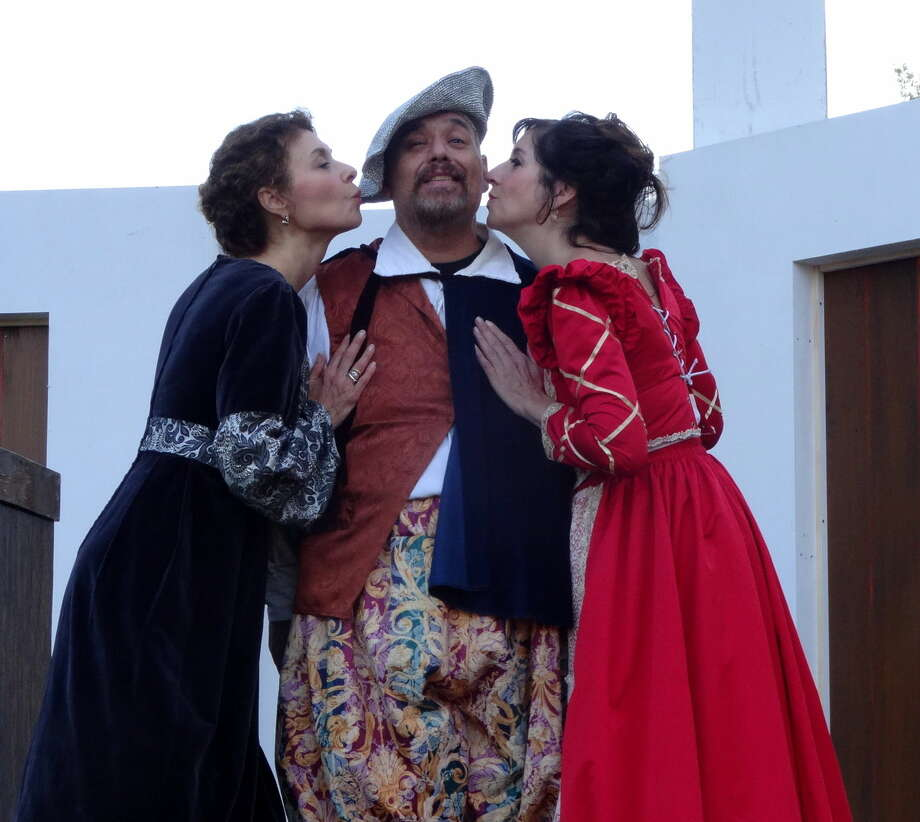"The two ladies of the title (Jessie Gilbert and Kimberley Lowden) have some fun with Stephen DiRocco as Falstaff in Curtain Call's Shakespeare on the Green presentation of ""The Merry Wives of Windsor."""