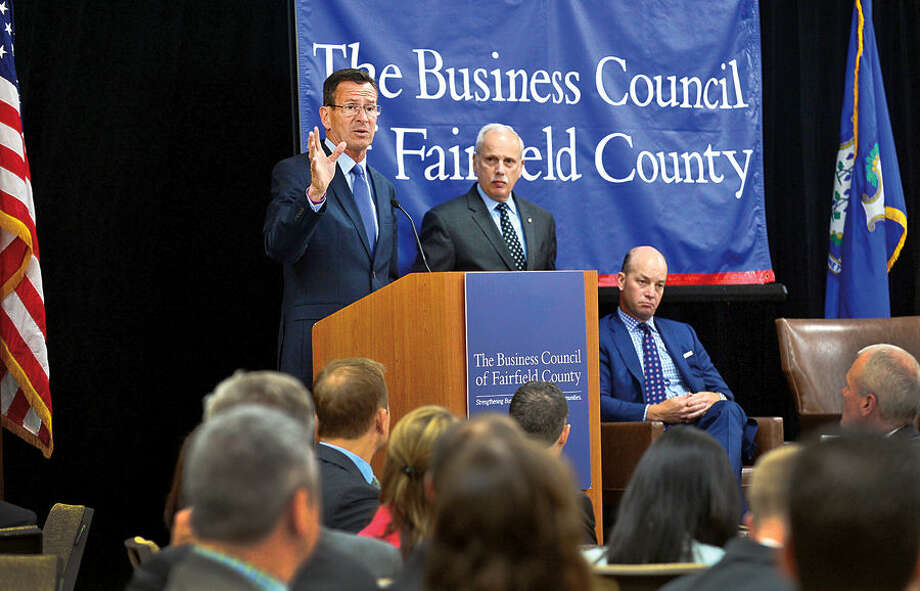 Gov. Dannel P. Malloy, the keynote speaker at The Business Council of Fairfield County's 45th Annual Members' Luncheon, speaks about his administration's top agenda items, including creating jobs and making long-overdue investments in the state's transportation infrastructure at the Stamford Sheraton Wednesday.