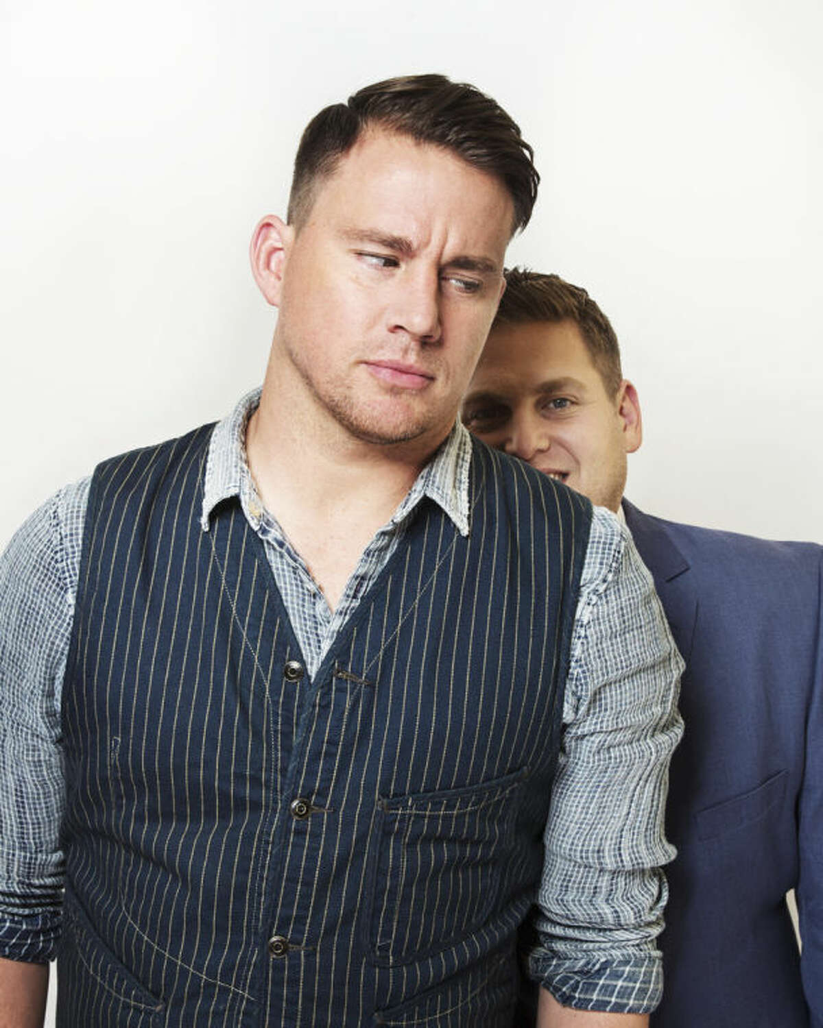 AP photo In this Thursday, June 5, 2014, photo, co-stars Channing Tatum, left, and Jonah Hill, right, pose for a portrait in promotion of their new film
