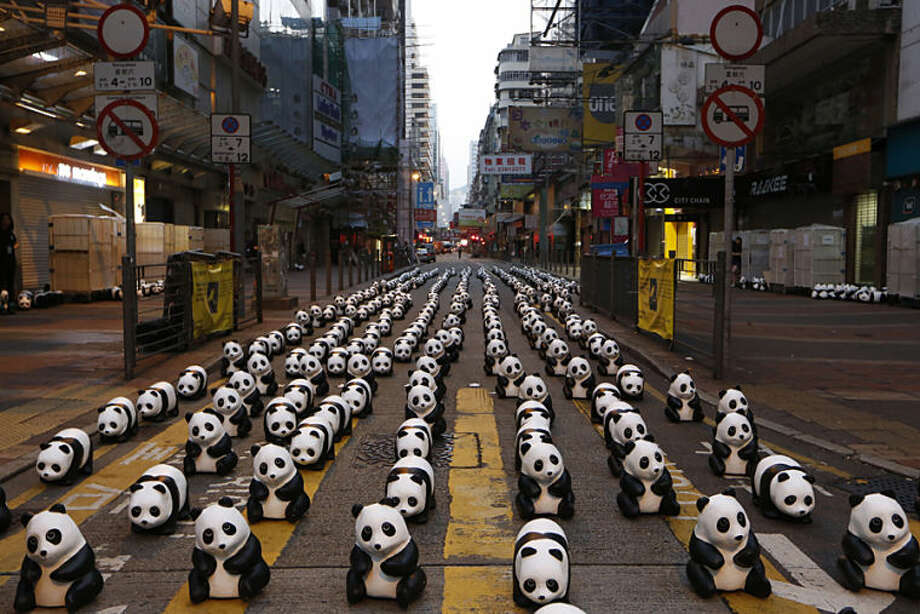 "Part of the 1,600 paper pandas, created by French artist Paulo Grangeon, are displayed at a street in Mongkok, a shopping district in Hong Kong during the month-long ""1600 Pandas World Tour"", Friday, June 13, 2014. (AP Photo/Kin Cheung)"