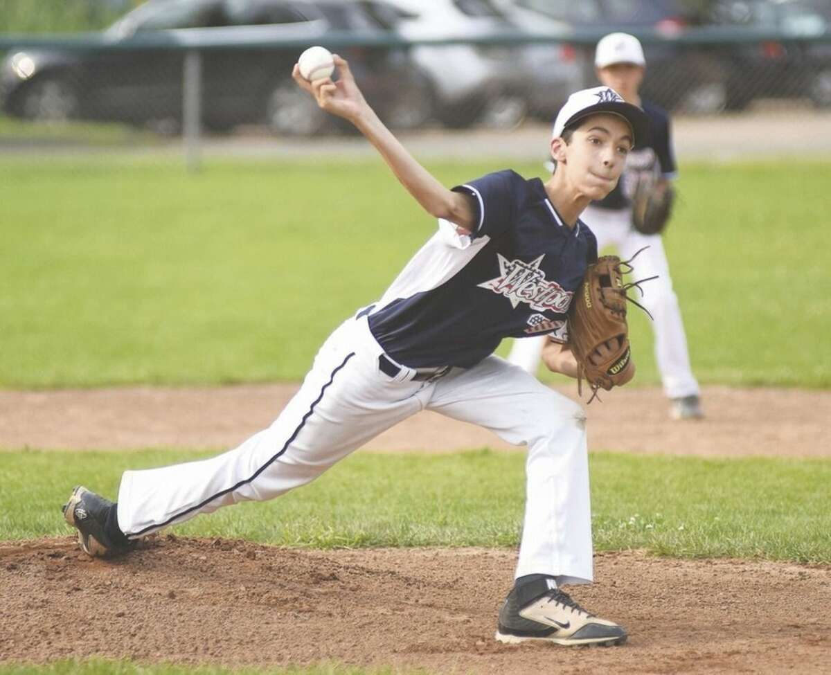 Hour photo/John Nash Westport Little League 12-year-old All-Star pitcher Hayden Jamali fires to the plate during Thursday's District 2 All-Star game at Unity Park in Trumbull.