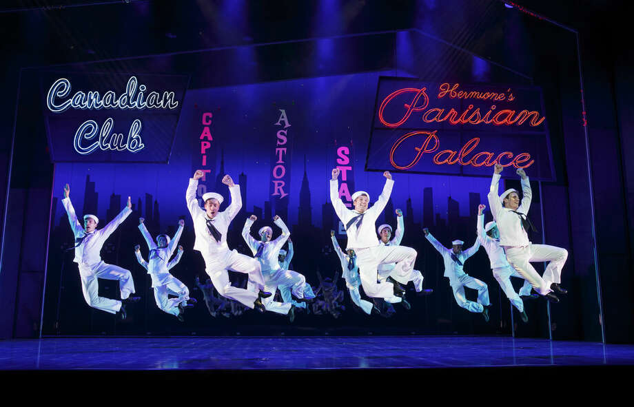 "In this image released by Matt Ross Public Relations, dancers perform in the musical ""On the Town,"" in New York. Nathan Adams, 13, from San Diego, Alyssa Call, 13, from Highland, Utah, and T.J. Little, 19, from Fort Worth, Texas, will have small parts in the show thanks to the Make-A-Wish organization. On Tuesday, the teens and their parents and siblings got a backstage tour of the Lyric Theatre, and practiced their scenes with Chip Abbott, the show's dance captain and swing. (Joan Marcus/Matt Ross Public Relations via AP)"