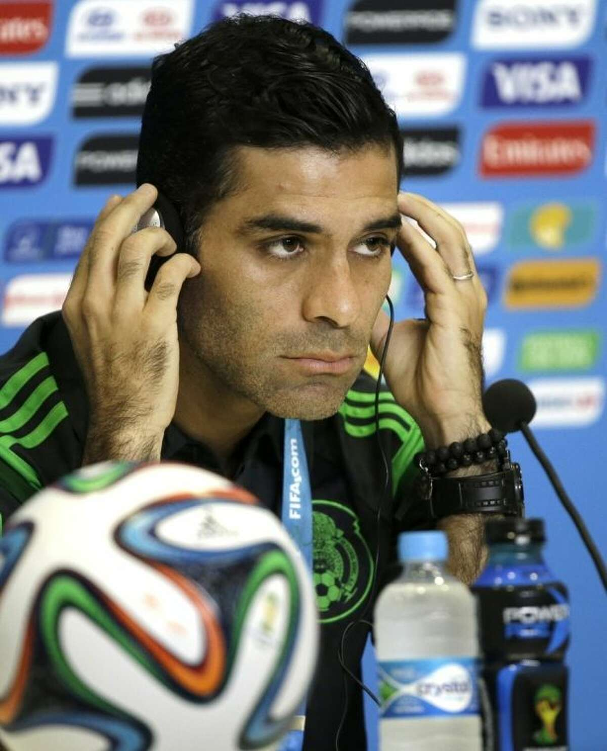 Mexico's soccer team captain Rafael Marquez attends a news conference before training for the World Cup in the Arena das Dunas in Natal, Brazil, Thursday, June 12, 2014. (AP Photo/Sergei Grits)