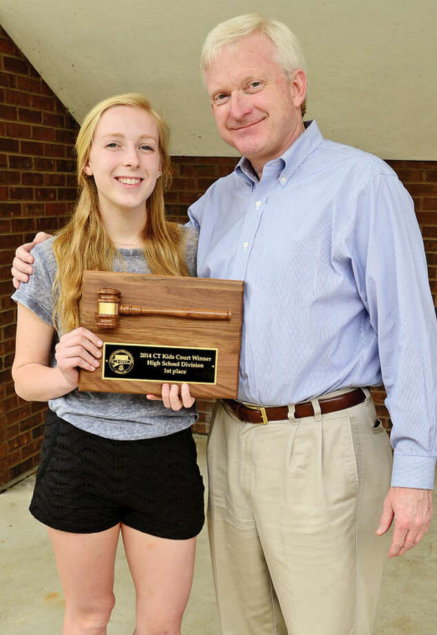 "Olivia Phelan, a Wilton High School junior, and her father Gary Phelan. Olivia was selected as the high school winner of the Connecticut Kids Court Competition in Hartford this week. Her speech was titled ""Ban the Bossy: We Won't Settle for Tokens."""