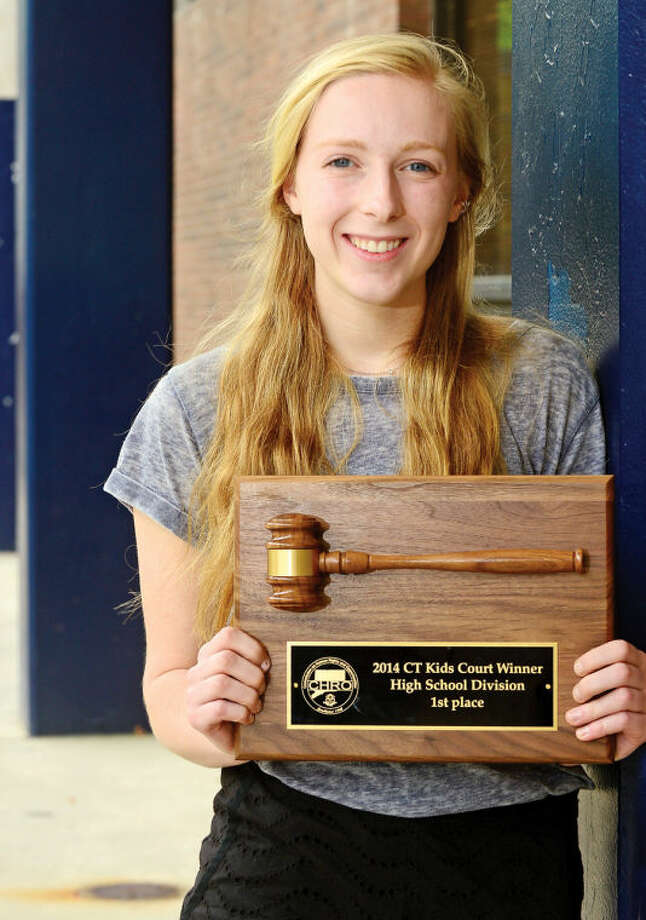 "Olivia Phelan, a Wilton High School junior, was selected as the high school winner of the Connecticut Kids Court Competition in Hartford this week. Her speech was titled ""Ban the Bossy: We Won't Settle for Tokens."""