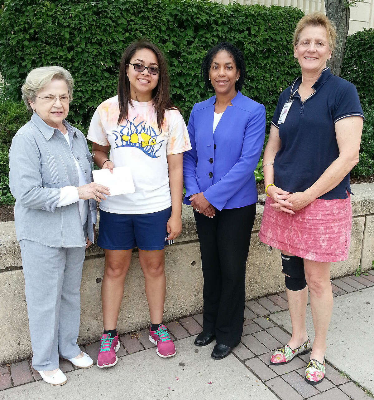 Contributed photo The Norwalk Garden Club presented a scholarship for $1,000 to Amanda Turner recently. Pictured from the left are: Janet Valus (Scholarship Committee); Amanda Turner; Mrs. Turner; and Jan Broome, President. Not pictured is Barbara Thompson (Scholarship Committee).