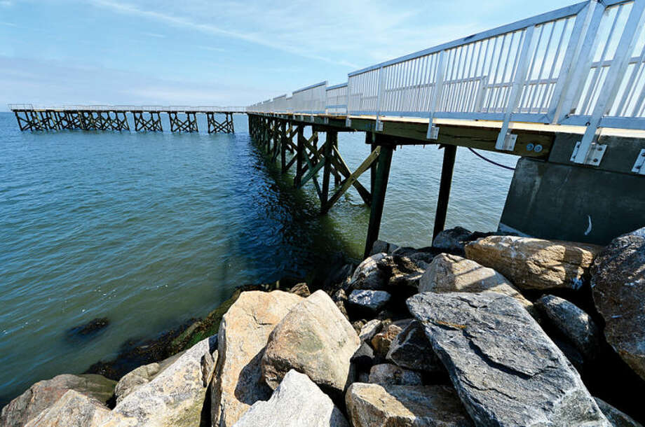 Hour photo / Erik Trautmann The brand new fishing pier at Calf Pasture Beach is completed. Grand opening set for June 28th. The old Captain William Clarke Pier was demolished by hurricanes Irene and Sandy.