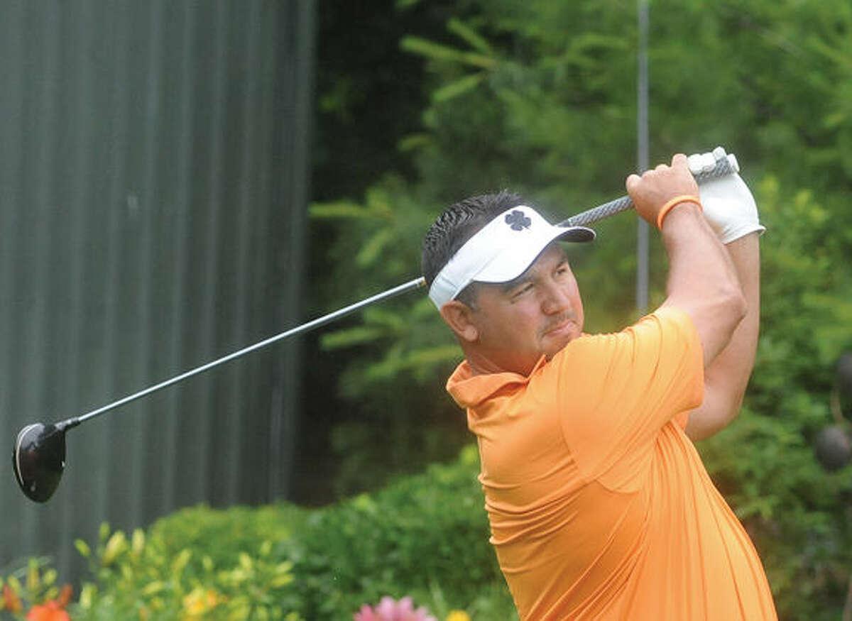 Jason Jaworski at the Stamford amateur championship golf tournament Sunday at Sterling Farms Golf Course. Hour photo/Matthew Vinci