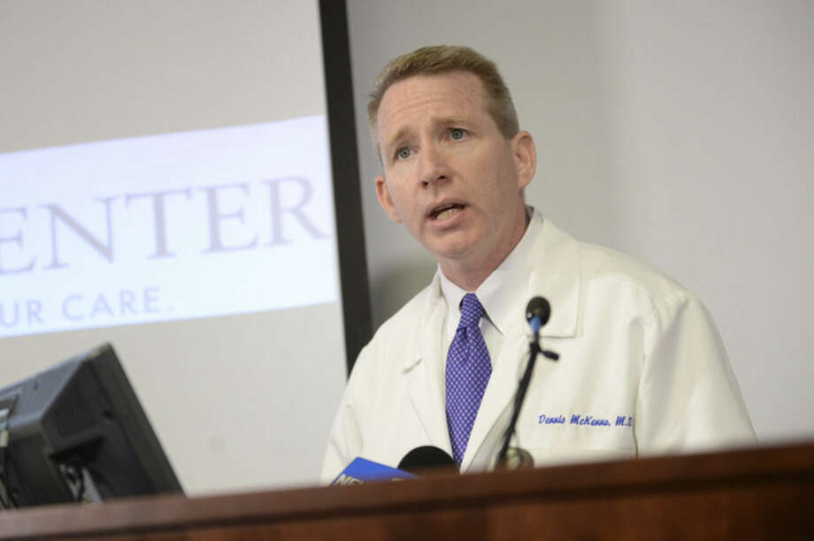 Dr. Dennis McKenna gives an update on the condition of escaped prisoner David Sweat during a news conference at Albany Medical Center after his arrival on Sunday, June 28, 2015, in Albany, N.Y. The second of two convicted murderers who staged a brazen escape three weeks ago from a maximum-security prison in northern New York was shot and captured near the Canadian border on Sunday, two days after his fellow inmate was killed in a confrontation with law enforcement, authorities said. (Patrick Dodson/The Daily Gazette via AP) TROY, SCHENECTADY; SARATOGA SPRINGS; ALBANY AND AMSTERDAM OUT
