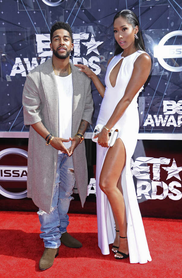 Omarion, left, and Apryl Jones arrive at the BET Awards at the Microsoft Theater on Sunday, June 28, 2015, in Los Angeles. (Photo by Richard Shotwell/Invision/AP)