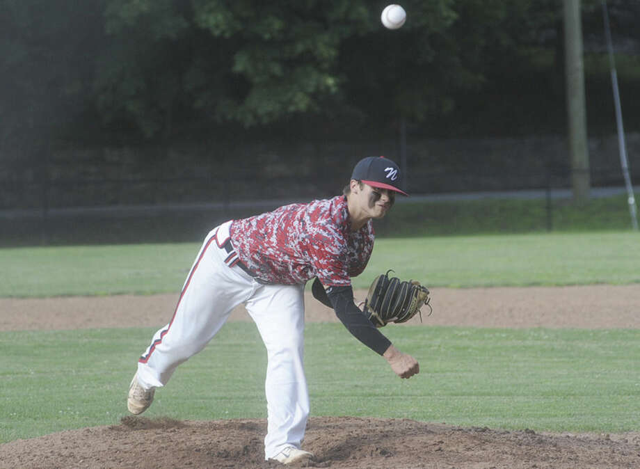 Hour Photo/Matthew VinciMike Gonzales starting pitcher for Norwalk Post 12 fires to the plate during Monday's American Legion baseball game played at Malmquist Field in Norwalk.