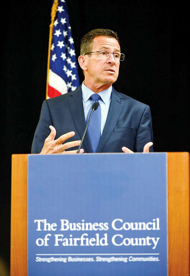 In this file photo, Gov. Dannel P. Malloy, the keynote speaker at The Business Council of Fairfield County's 45th Annual Members' Luncheon, speaks about his administration's top agenda items, including creating jobs and making long-overdue investments in the state's transportation infrastructure at the Stamford Sheraton Wednesday.