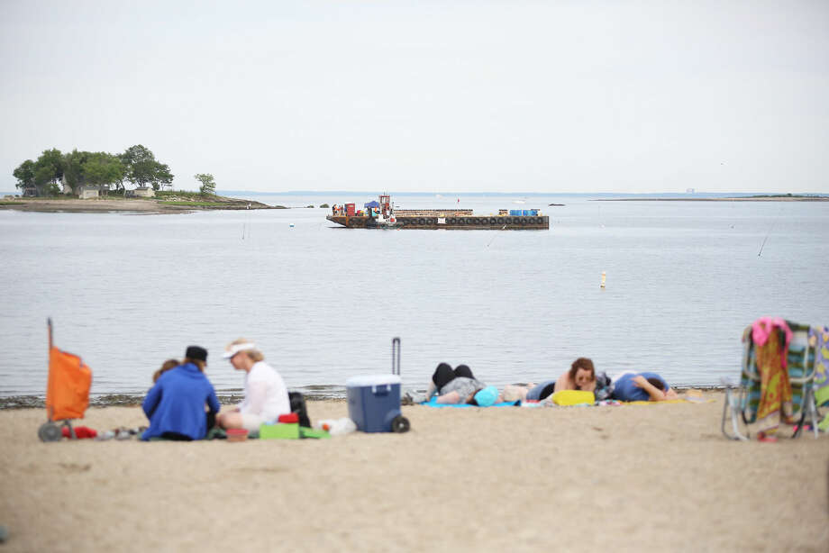 The barge before Norwalk's annual firework display at Shady Beach in Norwalk Friday evening. Hour Photo / Danielle Calloway