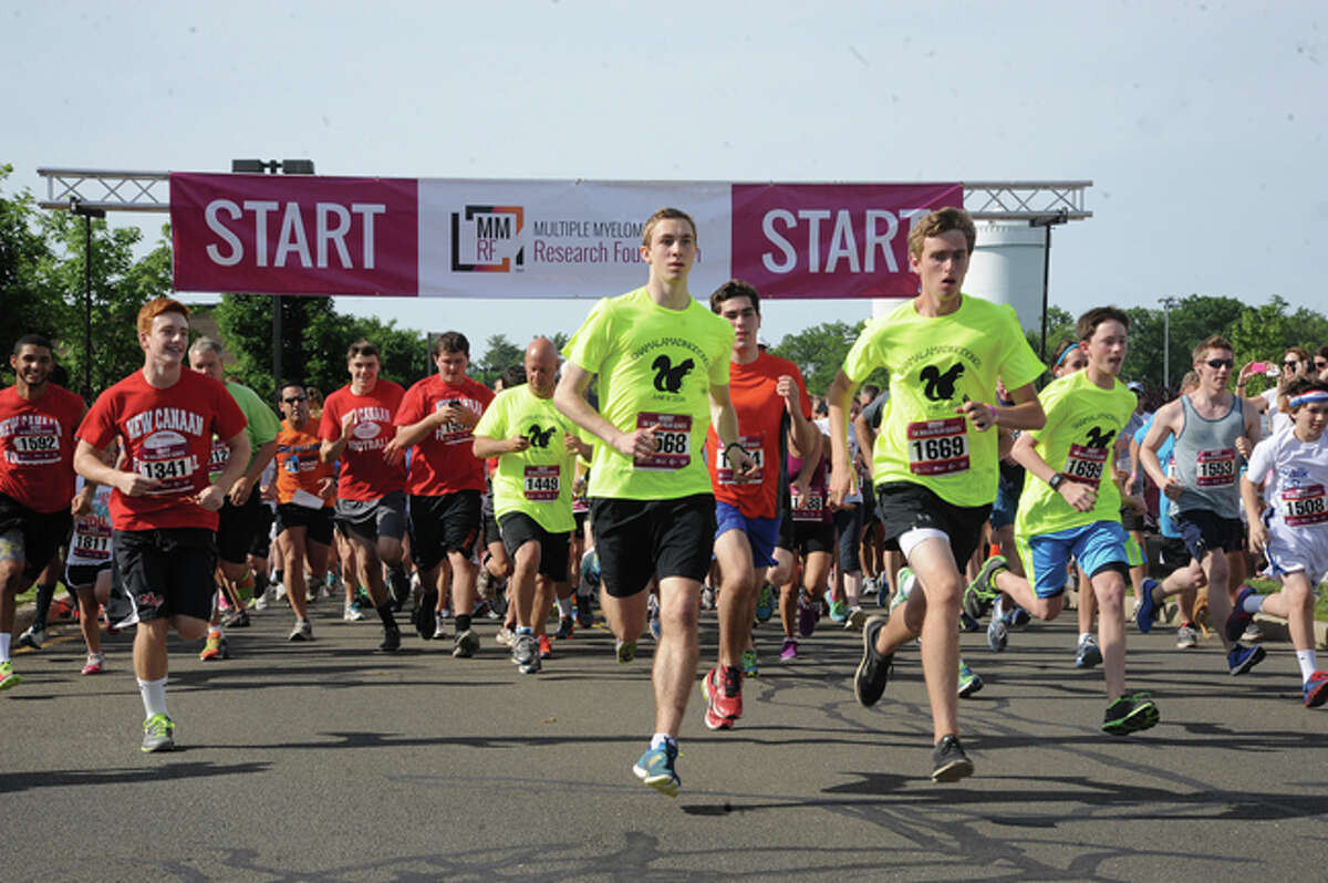 The Race begins Sunday at New Canaan High School for the 5K Multiple Myeloma race. Hour photo/Matthew Vinci