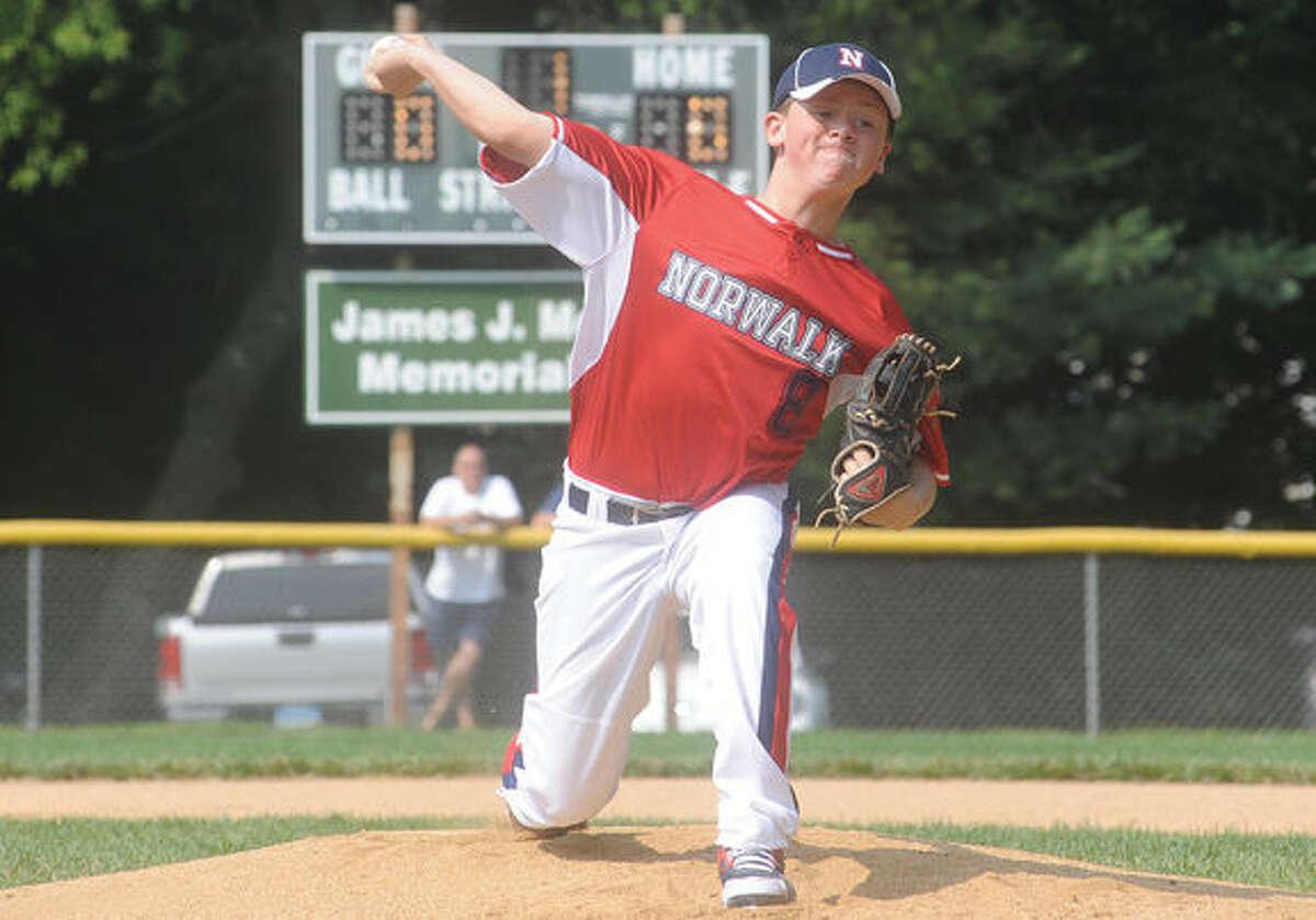 Brandon Frederique starting pitcher for Norwalk. Hour photo/Matthew Vinci