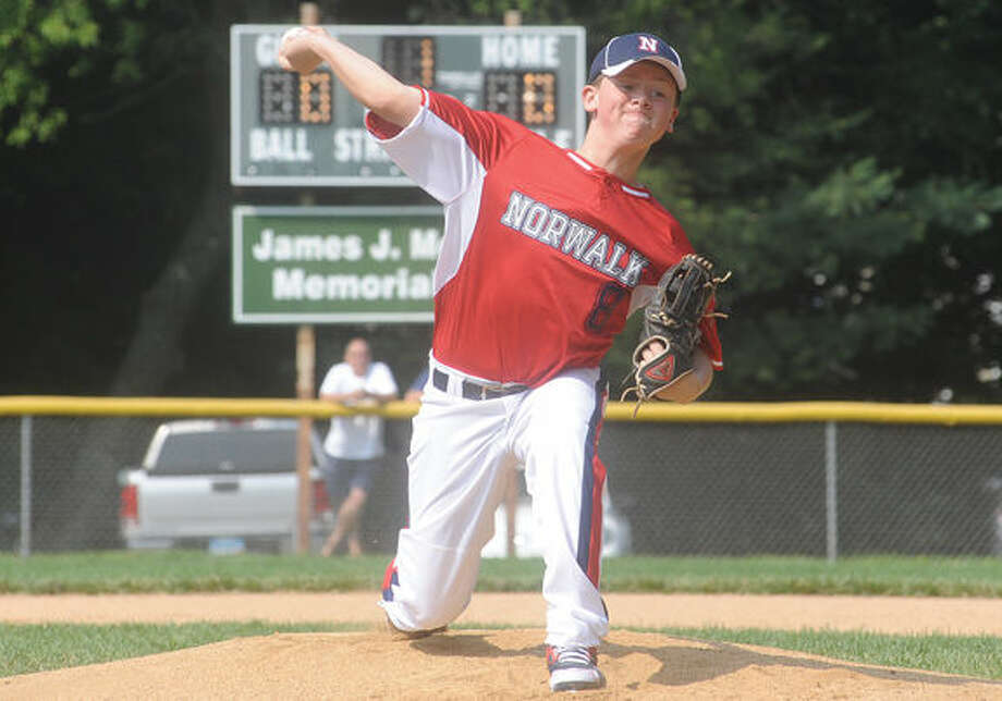 Brandon Frederique starting pitcher for Norwalk. Hour photo/Matthew Vinci