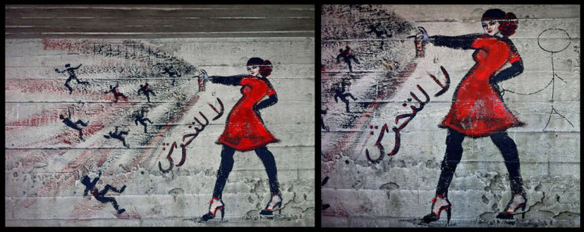 FILE- This combination of two photos shows graffiti of a woman with the words