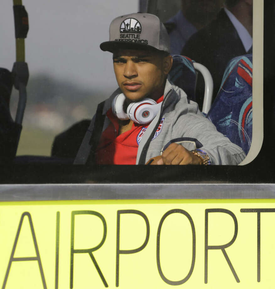 United States' national soccer team player Deandre Yedlin arrives at the Sao Paulo International airport in Brazil, Monday, June 9, 2014. The U.S. team arrived in Sao Paulo to continue their preparations for the upcoming Brazil 2014 World Cup, which starts on June 12. (AP Photo/Nelson Antoine)