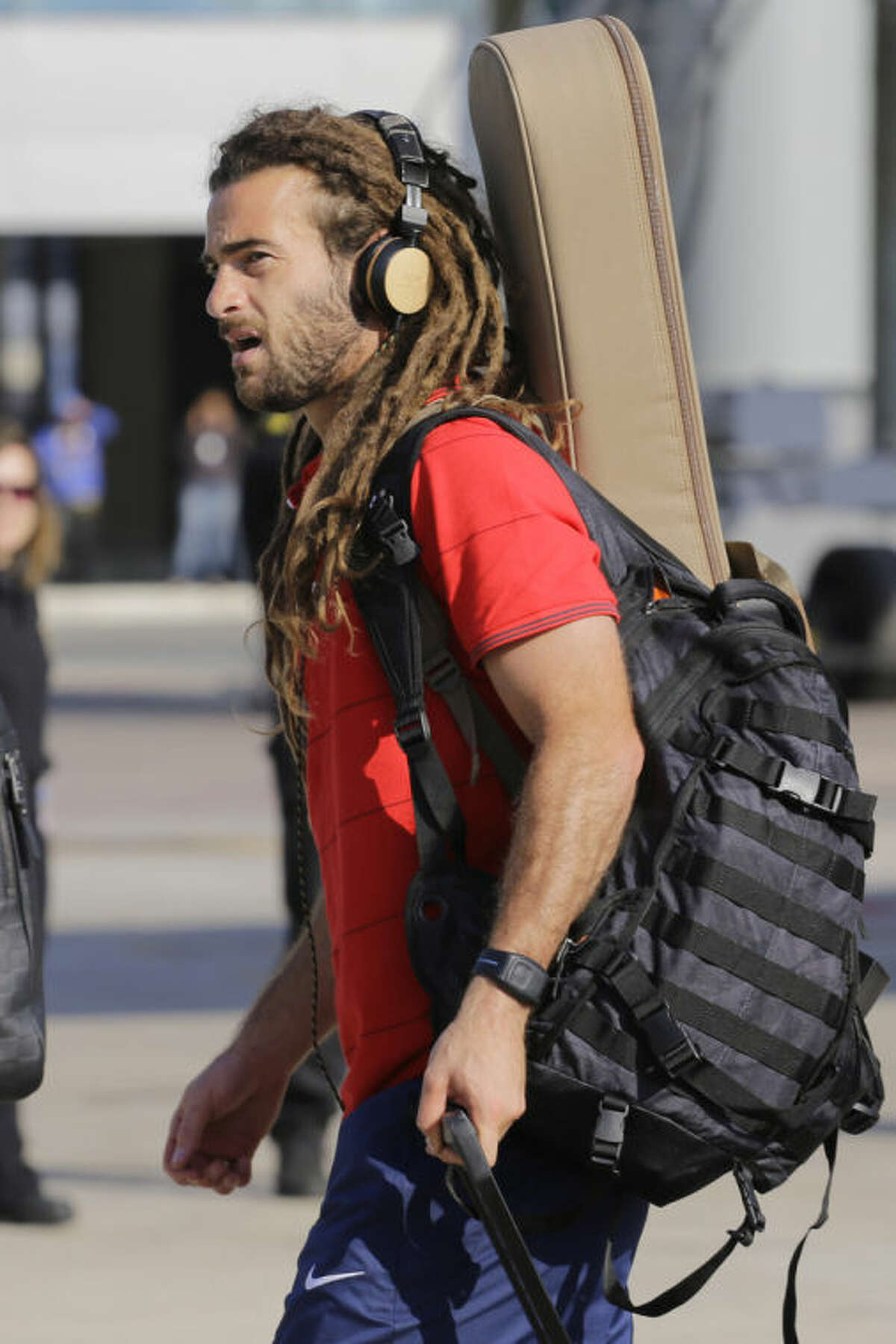 United States' national soccer team player Kyle Beckerman arrives at the Sao Paulo International airport in Brazil, Monday, June 9, 2014. U.S. team arrived in Sao Paulo to continue their preparations for the upcoming Brazil 2014 World Cup, which starts on June 12. (AP Photo/Nelson Antoine)