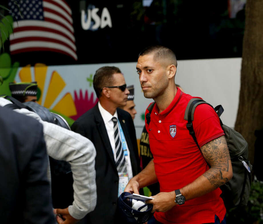 United States' Clint Dempsey arrives at the team hotel in Sao Paulo, Brazil, Monday, June 9, 2014. The U.S. will play in group G of the 2014 soccer World Cup. (AP Photo/Julio Cortez)