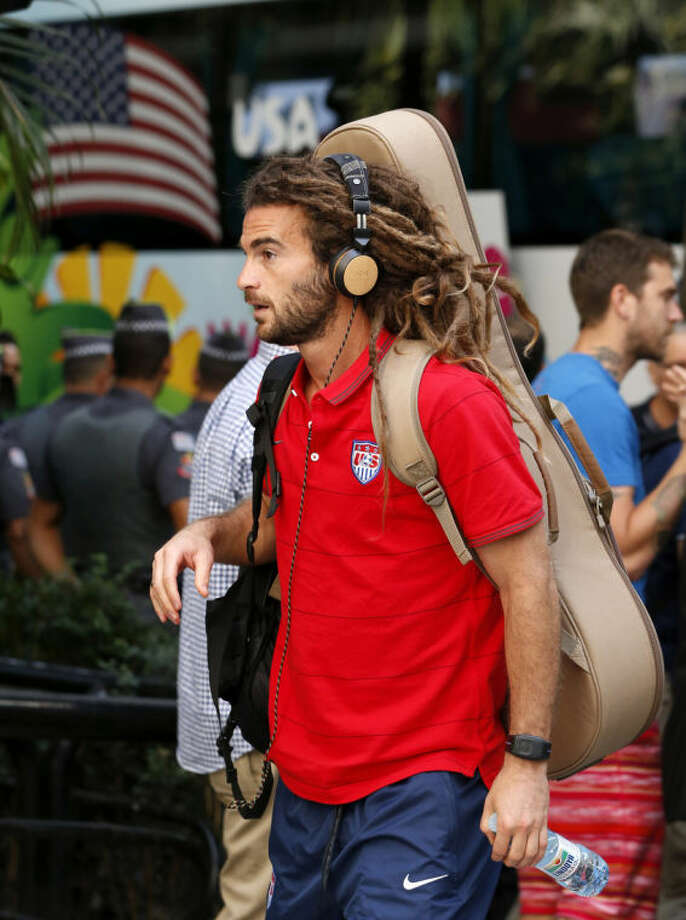 United States' Kyle Beckerman arrives at the team hotel in Sao Paulo, Brazil, Monday, June 9, 2014. The U.S. will play in group G of the 2014 soccer World Cup. (AP Photo/Julio Cortez)