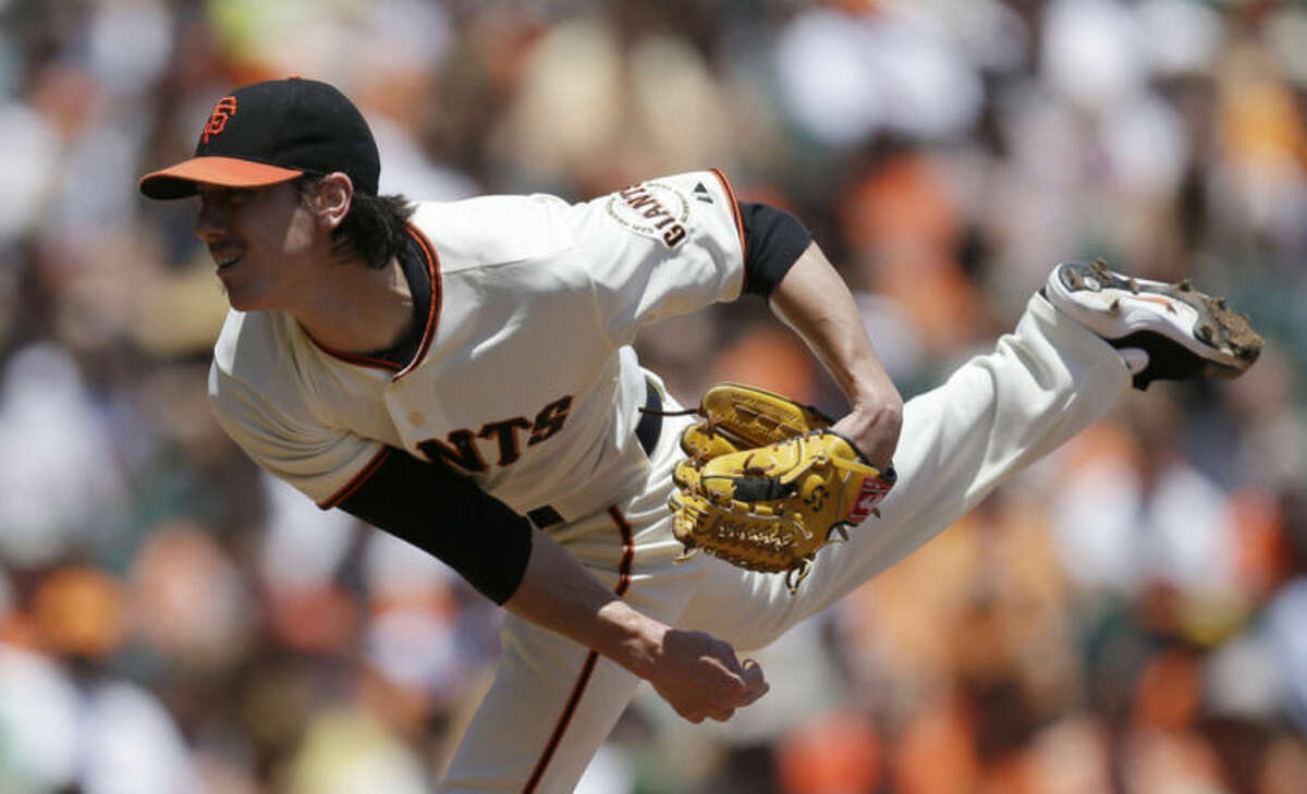 San Francisco Giants' Tim Lincecum works against the New York Mets in the first inning of a baseball game Sunday, June 8, 2014, in San Francisco. (AP Photo/Ben Margot)
