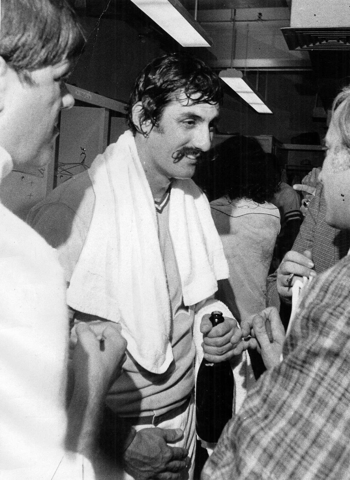 Rollie Fingers, after the World Series in 1974.