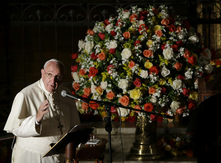 Pope Francis delivers his message during his visit to the San Francisco Church in Quito, Ecuador, Tuesday, July 7, 2015. Francis is making his first visit as pope to his Spanish-speaking neighborhood. He travels to three South American nations, Ecuador, Bolivia and Paraguay. (AP Photo/Gregorio Borgia)